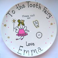 PERSONALISED TOOTH FAIRY PLATE girls birthday present magic decorative home