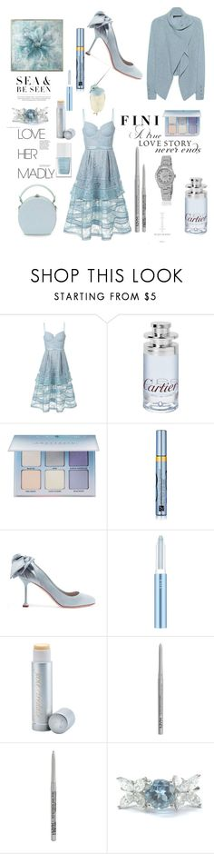 """""""Sea & be seen"""" by fini-i ❤ liked on Polyvore featuring self-portrait, Cartier, Anastasia Beverly Hills, Estée Lauder, Miu Miu, RMK, WALL, Jane Iredale, NYX and Tiffany & Co."""