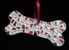 Sparkling Pet Gift -  Pet Lover Dog Bone Holiday Ornament - Mosaic Art Ornament  -Black White & Red Ornament for Pet
