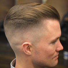 "oldschoolbarber: "" has some of my favorite hair to play with! This was styled with Matte in damp hair and blow dried. (at Handcrafted Barbershop) "" Cool Mens Haircuts, Cool Hairstyles For Men, Haircuts For Curly Hair, Men's Haircuts, Short Comb Over, Comb Over Fade, Retro Haircut, Free Haircut, Gentleman Haircut"