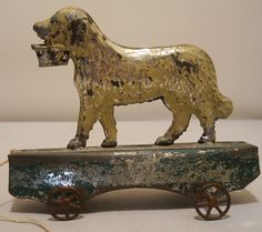 Late 1800's Early American Tin Spaniel Dog Pull Toy