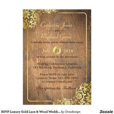 RSVP Luxury Gold Lace & Wood Wedding Invitation