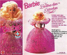 Barbie Brilho das Estrelas  Boneca com vestido cintilante que no escuro fica todo brilhante,ao girar a florzinha da cintura, muda-se a cor que brilha o decote do vestido (fibra ótica)