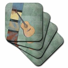 3dRose cst_56238_1 Artsy GuitarStringed InstrumentsMusical ArtSoft Coasters Set of 4 * Find out more about the great product at the image link. (This is an affiliate link) #FurnitureBarCoasters