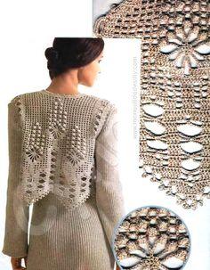 Crochet vest with long sleeve ♥LCT-MRS♥ with diagram Crochet Shirt, Crochet Jacket, Crochet Cardigan, Knit Crochet, Crochet Motifs, Filet Crochet, Irish Crochet, Crochet Patterns, Crochet Woman