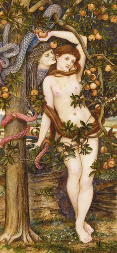 The Temptation of Eve, by John Roddam Spencer Stanhope (1829-1908).