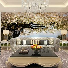 JAMMORY Art Deco Wallpaper Contemporary Wall Covering,Other A Large Mural Wallpaper Fantasy Tree - USD $68.99