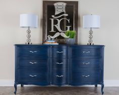 """Dresser Painted in Annie Sloan Chalk Paint Napoleonic Blue, with clear then black wax, a finish I call """"Deep Ocean"""""""
