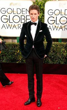 Velvet Gucci tux - Eddie Redmayne Golden Globes 2015