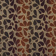 Caramel Brown and Burgundy Leaf Silhouette Stripe Abstract Chenille Upholstery Fabric