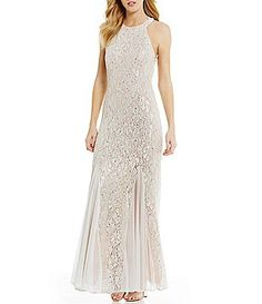 Jump High Neck Open Beaded Draped Back Long Lace Dress