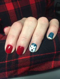 Christmas nails with white bear