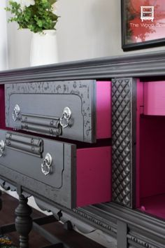 Dark wood sideboard to lovely gray with hidden pink surprises. The details of the trim stand out so much better with paint.