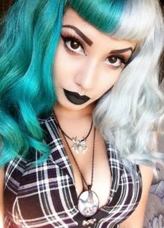 Half green half white dyed alternative hair