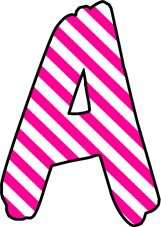 ArtbyJean - Paper Crafts: Magenta and white candy stripes on a SET OF ALPHABETS and NUMBERS Clipart to cut and past on your paper crafts - For digital arts, collage, crafts, decoupage, cards and scrapbooks.
