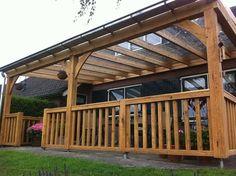 Garden pleasure: oak wooden veranda with glass roof and balustrades Deck Canopy, Garden Canopy, Curved Pergola, Diy Pergola, Pergola Kits, Pergola Ideas, Porch Ideas, Outside Living, Outdoor Living