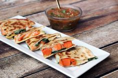 Kale and Sweet Potato Quesadillas #sweet potato #kale #recipes #football #snacks #quesadillas #entertaining