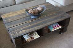 pallet coffee table- reminds me of our old coffee table a bit- but a more manageable size!