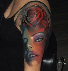 Portrait Tattoos - portrait tattoos in full color and black and white. portrait tattoos in many different shades and colors. Tribal Tattoo Designs, Half Sleeve Tattoos Designs, Full Sleeve Tattoos, Best Tattoo Designs, Sleeve Tattoos For Women, Tattoo Designs For Women, 3d Tattoos, Body Art Tattoos, Cool Tattoos