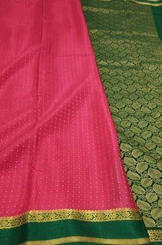 Pink Handloom Mysore Crepe ... Crepe Silk Sarees, Silk Crepe, Pink Fabric, Woven Fabric, Mysore Silk Saree, Lady, Clothes, Color, Fashion