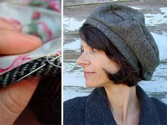 How to make a lined Garbo Hat Hat - Tutorial Sewing Hacks, Sewing Tutorials, Sewing Patterns, Hat Patterns To Sew, Diy Clothing, Sewing Clothes, Hat Tutorial, Diy Couture, Diy Hat