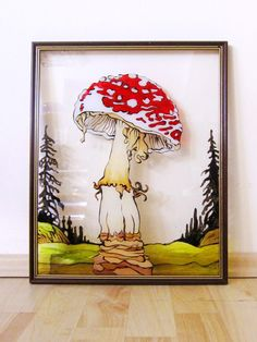 Amanita Muscaria Frame, Glass, Painting, Home Decor, Art, Homemade Home Decor, Craft Art, Drinkware, Paintings