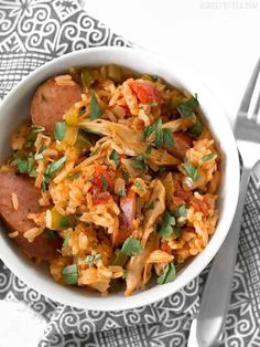 Slow Cooker Jambalaya has all the big flavor of the classic Louisiana dish with half the effort. BudgetBytes.com Slow Cooker Recipes, Crockpot Recipes, Chicken Recipes, Food Dishes, Main Dishes, Cooking For Four, Slow Cooker Jambalaya, Large Slow Cooker, No Cook Meals