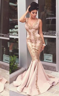 Gold v neck prom dresses mermaid