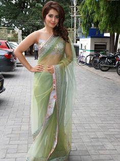 Bollywood Actress Saree Collections: Rashi Khanna in Pastel Green Net Saree Designed by...