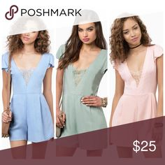 NWT Tobi Lace Romper - 3 Colors I have this romper in three colors: pink, green, blue as well as in xs or s • please select which color / size at checkout • offers are accepted • each romper comes new with tags, in sealed package Tobi Pants Jumpsuits & Rompers