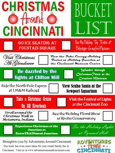 How many of these holiday activities in Cincinnati have you been to? Print it and track your progress. For a special touch, frame it and use a dry erase marker to cross each activity off. Combine it with an Adventures Around Cincinnati book for a unique and memorable gift. From adventuresaroundcincinnati.com #familytravel #christmas #cincinnati #bucketlist