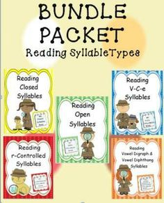 There are six syllable types in reading. This bundle contains five of the syllable types. The sixth unit can be downloaded free. Each unit provides multiple word lists of each syllable type. Teaching by syllable types provides students with a clear-cut understanding of the English language.