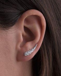 Feather Ear Climber Sterling Silver Ear Cuff Boho Earrings Silver Earrings Modern Jewelry Gift for H Ear Jewelry, Jewelry Gifts, Silver Jewelry, Jewelry Accessories, Skull Jewelry, Jewelry Box, Bohemian Jewelry, Modern Jewelry, Ear Cuffs