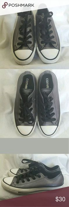 Metalic Chucks Hematite Converse All Star Size 6 Converse All Star Black Gray Hematite Metallic Leather Low Top Sneakers Shoes Size 6.  Very gently used. Converse Shoes Sneakers