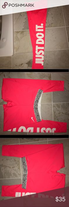 "Bright Nike with leopard bank track workout pant These were bought by my husband and they aren't really my style. Bright orange/pink with white lettering and leopard band. Side of pant says ""just do it"". New without tags Nike Pants Track Pants & Joggers"