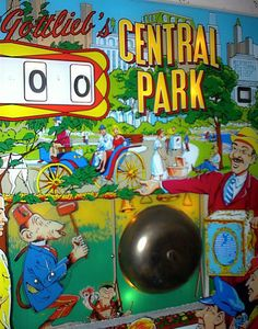 Central Park pinball machine backglass with bell made by Gottlieb in 1966 Penny Arcade, Machine Photo, Vintage Modern, Pinball, Central Park, Tilt, Console, Childhood, Museum