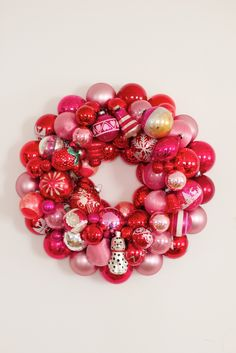 Red and pink ornament wreath