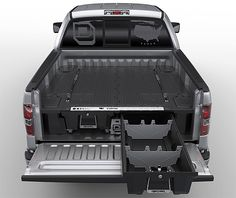 Decked Truck Storage: Handymen have been building their own truckbed storage systems forever but here's an easier option that requires no powertool skills. The Decked system is a versatile, HDPE plastic setup that gives you massive bed-length lockable storage drawers, each capable of holding 200-pounds while still giving you full-time use of the truck bed.