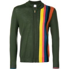 Paul Smith stripe detail zip cardigan ($350) ❤ liked on Polyvore featuring men's fashion, men's clothing, men's sweaters, green, mens zip sweater, mens merino sweater, mens cardigan sweaters, mens zipper sweater and mens zip cardigan sweater