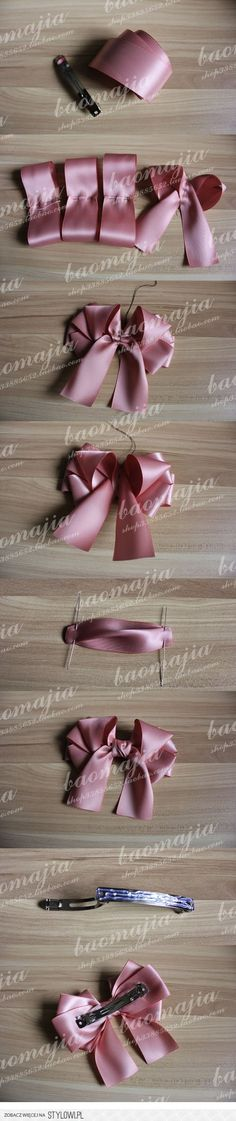 quick ribbon bow for hair clips, etc. Making Hair Bows, Diy Hair Bows, Diy Bow, Diy Ribbon, Ribbon Work, Bow Hair Clips, Ribbon Crafts, Fabric Crafts, Barrettes