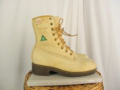 Sz 4 Vintage Mining Steel Toe Leather Work by ManeaterVintage, $38.00 vintage fashions cowboy western chukka work hunting roper slip on rodeo harness motorcycle boots Christmas gifts December finds etsy treasury photos