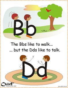 "Dyslexie en Engels Good way to teach how to differentiate between ""b"" and ""d"" Very Clever! Kindergarten Literacy, Early Literacy, Literacy Activities, Numbers Kindergarten, Alphabet Activities, Teaching Reading, Kids Learning, Visual Learning, Reading School"