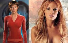 Jolene Blalock (T'Pol) from Star Trek TV series - Enterprise Vulcan beauty - education club Star Trek Enterprise, Star Trek Voyager, Star Trek Starships, Star Trek Actors, Star Trek Characters, Star Trek Cosplay, Star Trek Tv Series, Jolene Blalock, Star Trek Images