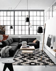 Cenova sofa in a studio in Copenhagen. Notice the lamps - very distinctive detail!  ...note color combination, also plenty of natural light and no curtains