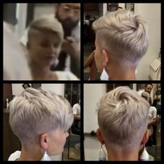Short Hair idea for grandma - Short Pixie Haircuts Short Pixie Haircuts, Pixie Hairstyles, Short Hairstyles For Women, Hairstyles With Bangs, Short Hair Cuts, Pixie Cuts, Bob Haircuts, Quick Hairstyles, Short Blonde