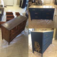 Before and after dresser update for ocean themed bedroom
