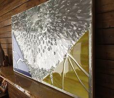 Shattered No. 444 side view metal art, aluminum, grinding, broken glass, modern art