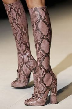 Gucci Rose Tone Snakeskin Phyton High Heeled Boots Fall Winter 2014 #Shoes #Heels