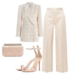 A fashion look from April 2017 featuring pink blazer, high-waisted wide leg pants and high heel shoes. Browse and shop related looks. Komplette Outfits, Kpop Fashion Outfits, Cute Casual Outfits, Polyvore Outfits, Stylish Outfits, Elegantes Business Outfit, Mode Gossip Girl, How To Have Style, Classy Work Outfits