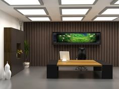 Office & Workspace, Exclusive Large Space Office Room Design Ideas With Wonderful Black Mixed Bright Brown Office Desk And Comfortable Black Arm Chair Also Beautiful White Ceramic Potted Plant For Elegant Concept: See Comfortable Office Room Design Modern